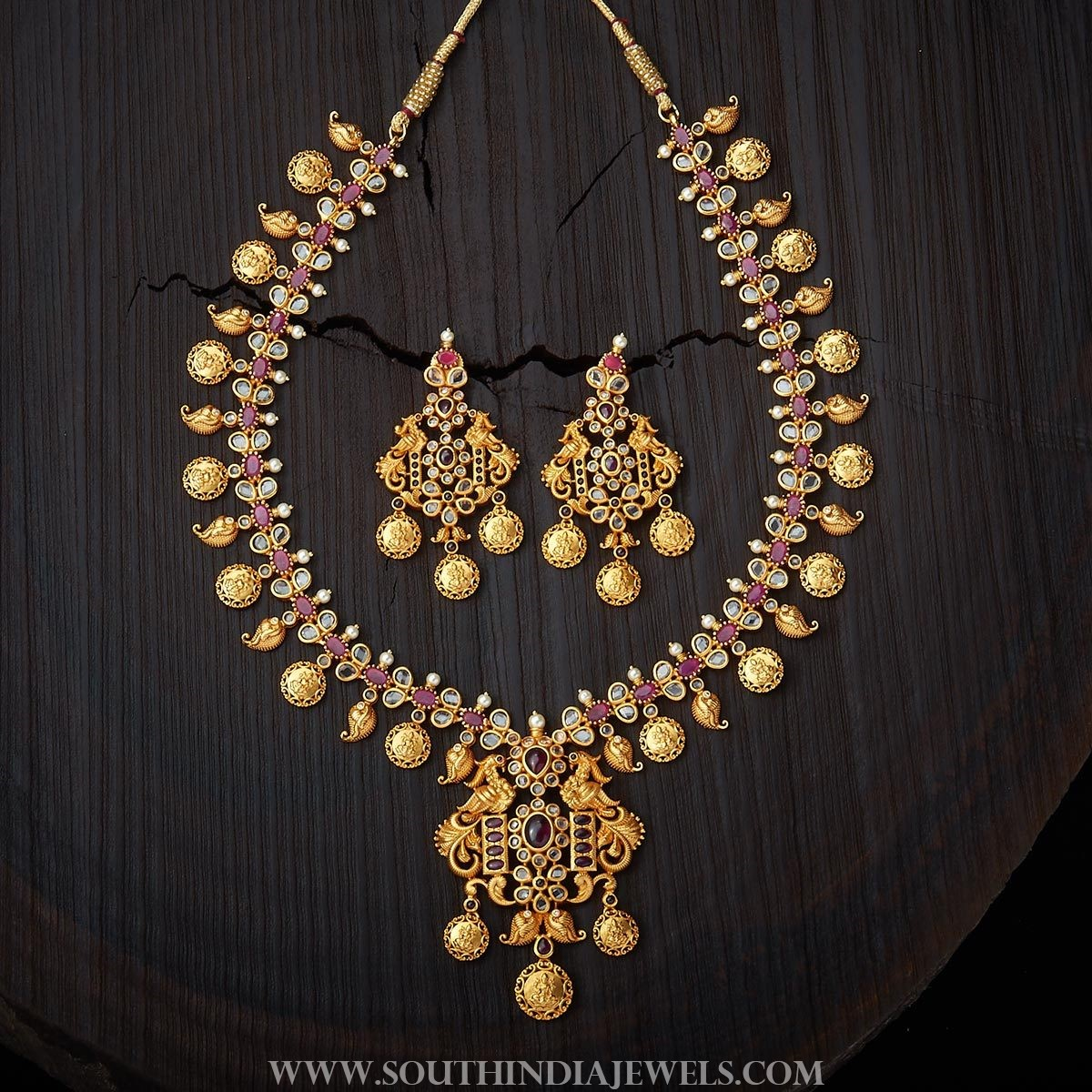 Gold Plated Antique Ruby Necklace From Kushal's Fashion Jewellery
