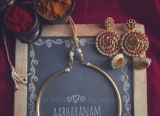 Gold Plated Kemp Necklace Set From Abharanam