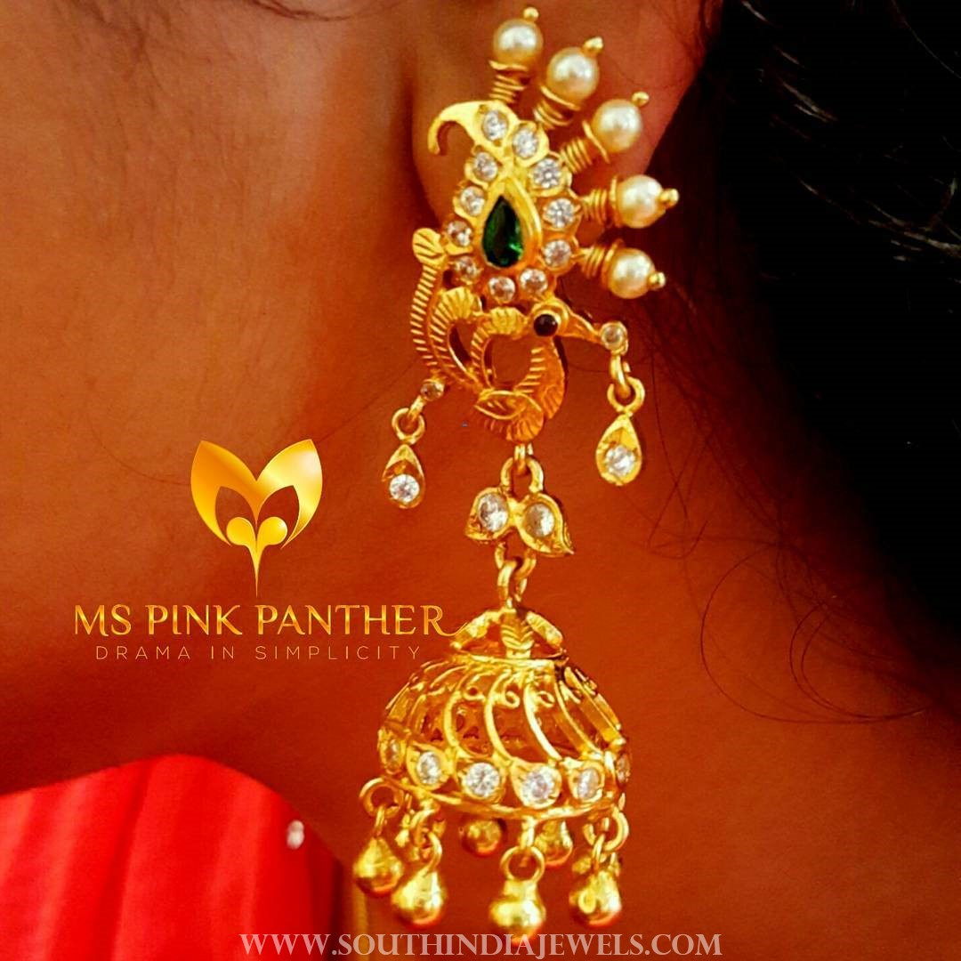 Latest Model Gold Plated Jhumka From Ms Pink Panther