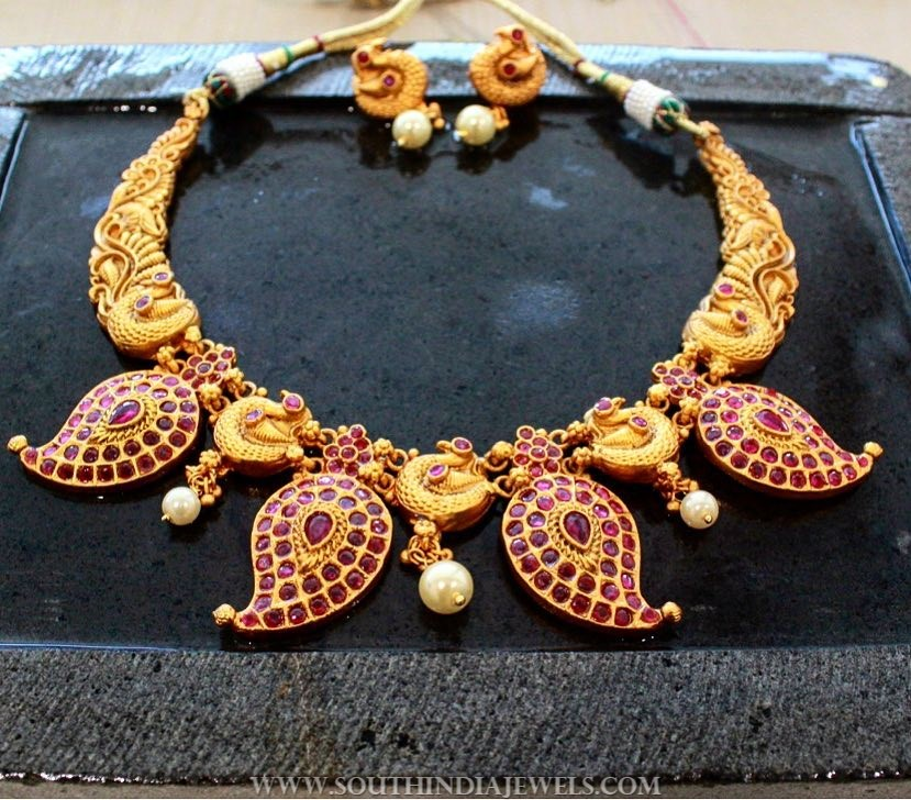 Gold Plated Mango Ruby Necklace