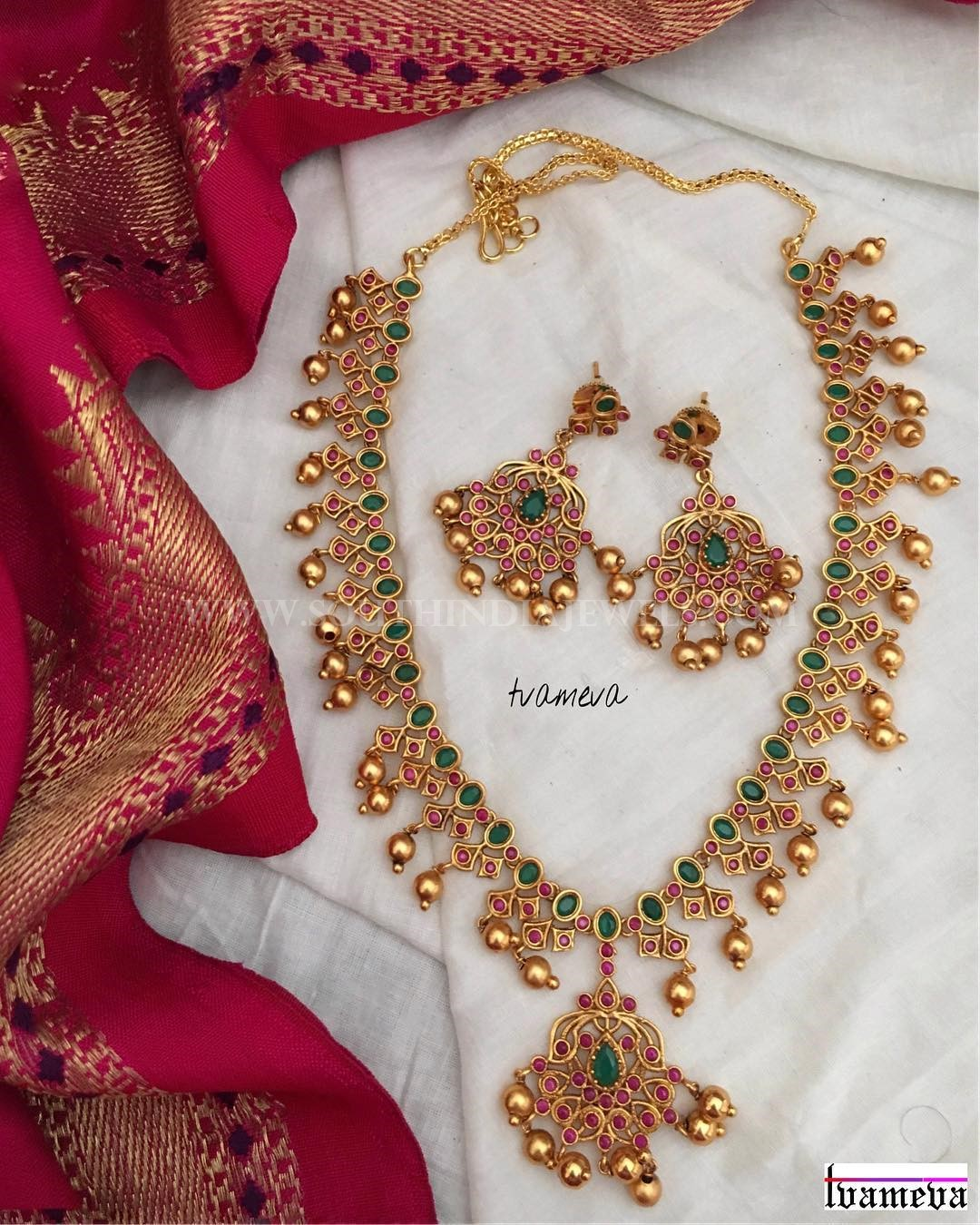 Gold Plated Ruby Emerald Set From Tvameva