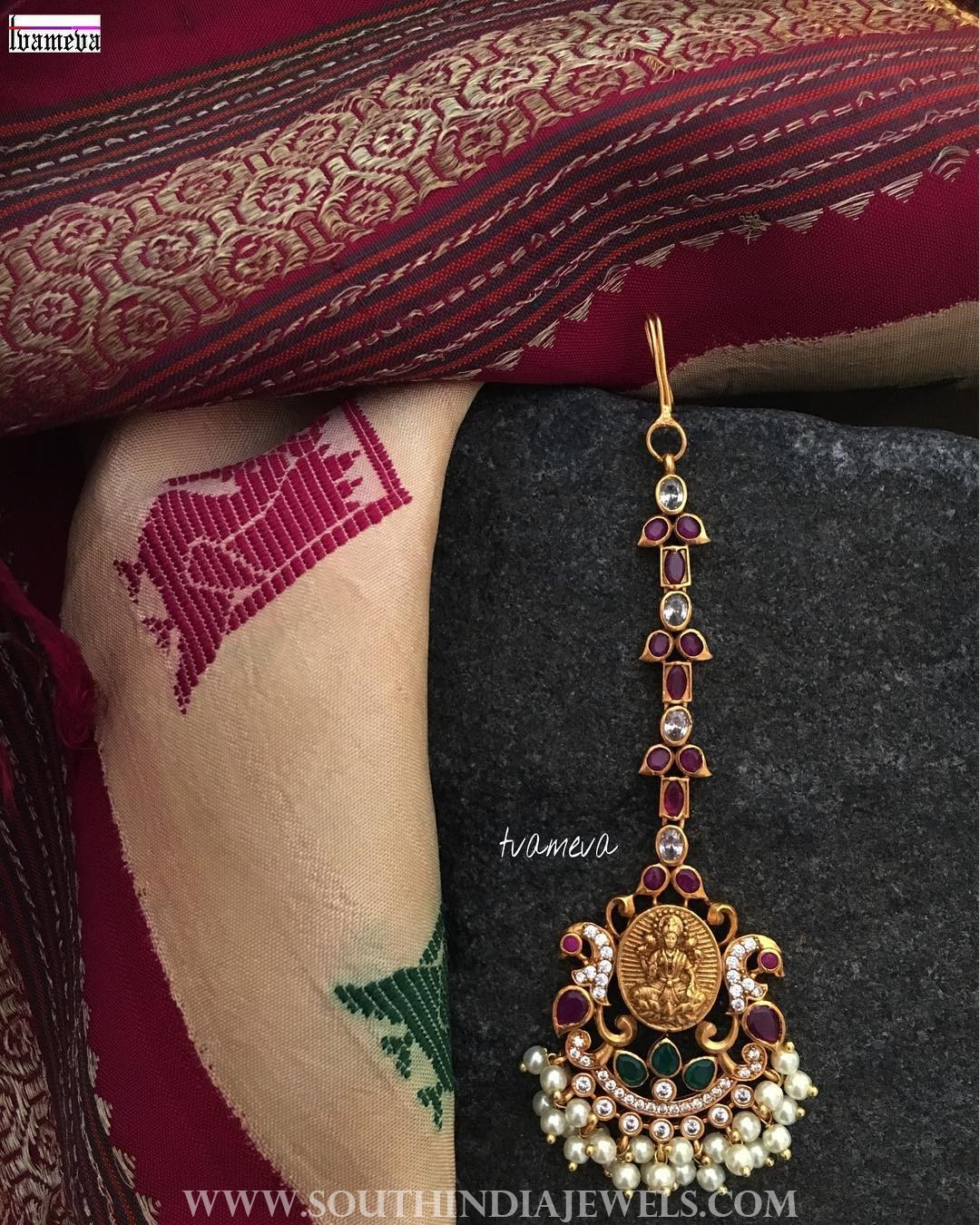 Gold Plated Ruby Emerald Maang Tikka
