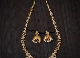 Gold Plated Stone Haram From Kushal's Fashion Jewellery