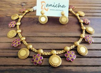 Gold Plated Ruby Coin Necklace From Anicha