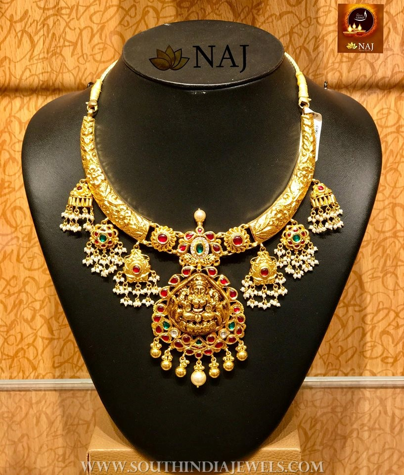 Gold Nakshi Work Lakshmi Necklace From Naj
