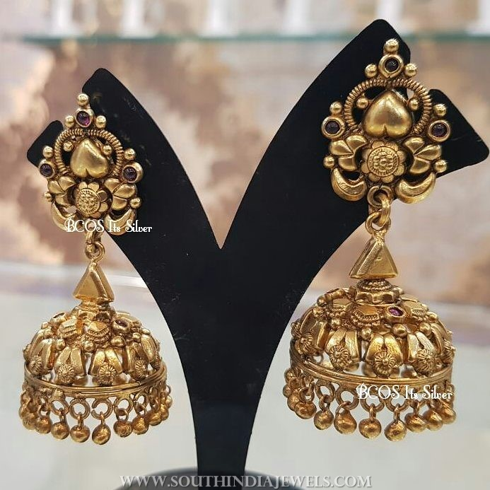 Gold Plated Pure Silver Plain Jhumka