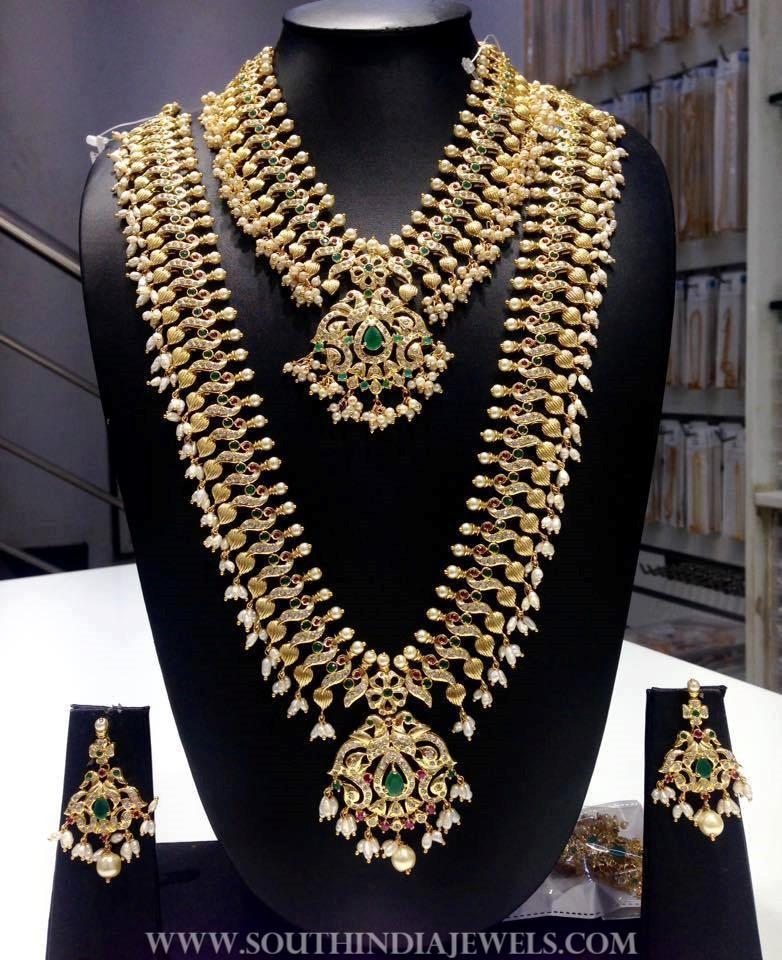 1 Gram Gold Bridal CZ Stone Jewellery Set