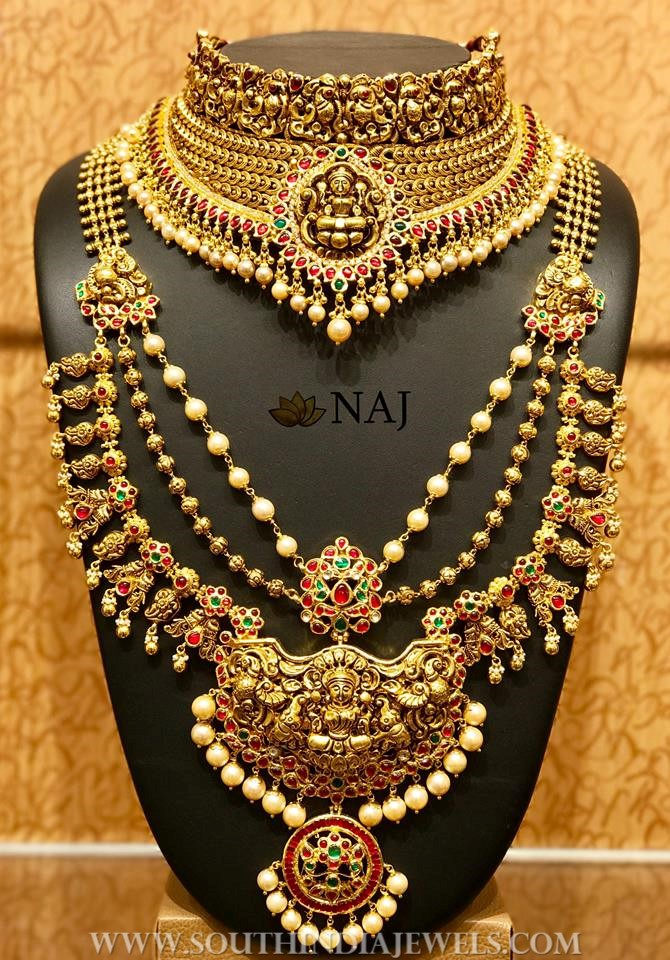 Gold Antique Bridal Lakshmi Set