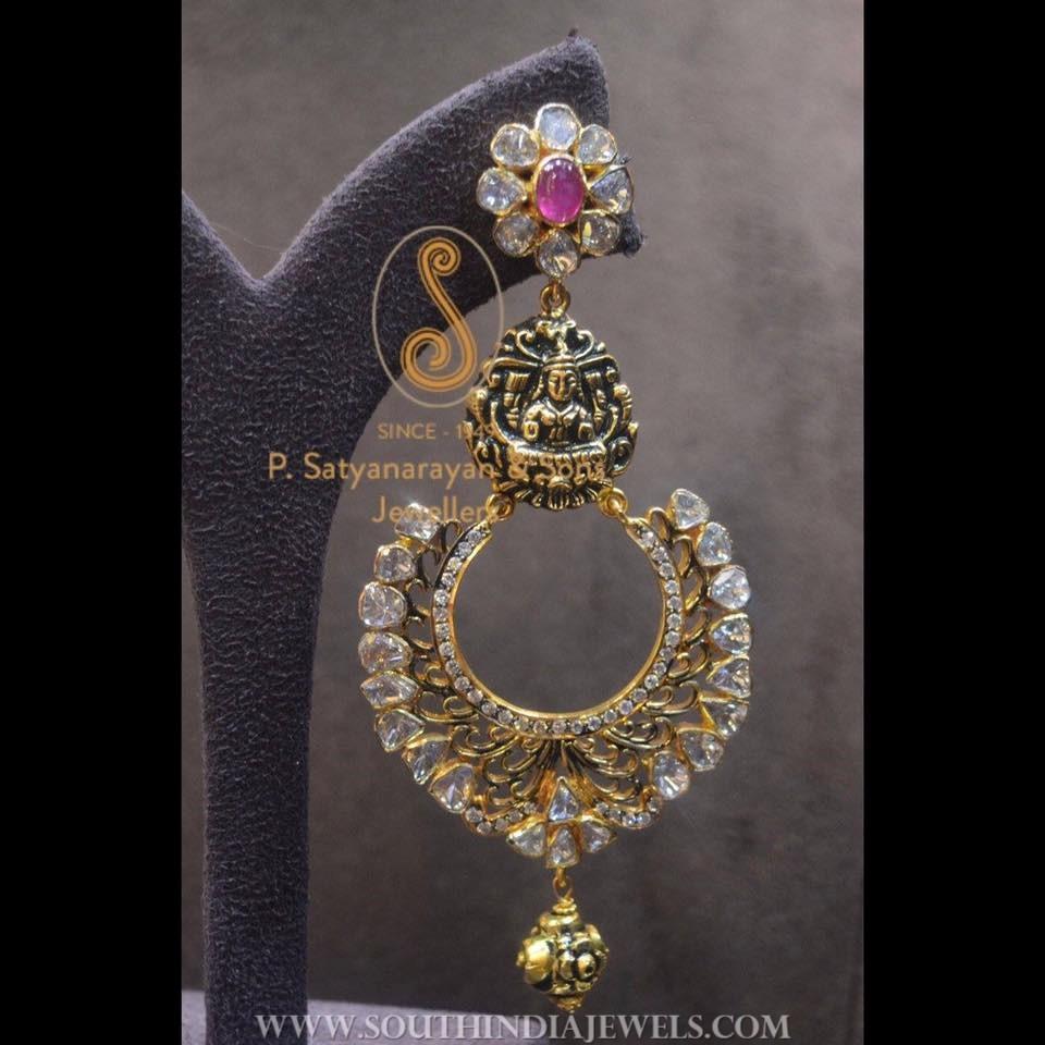 Gold Oxidized Finish Designer Earrings