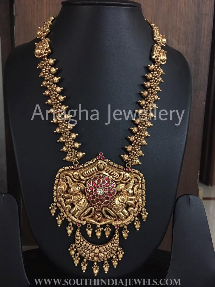 Gold Nakshi Kundan Haram Model