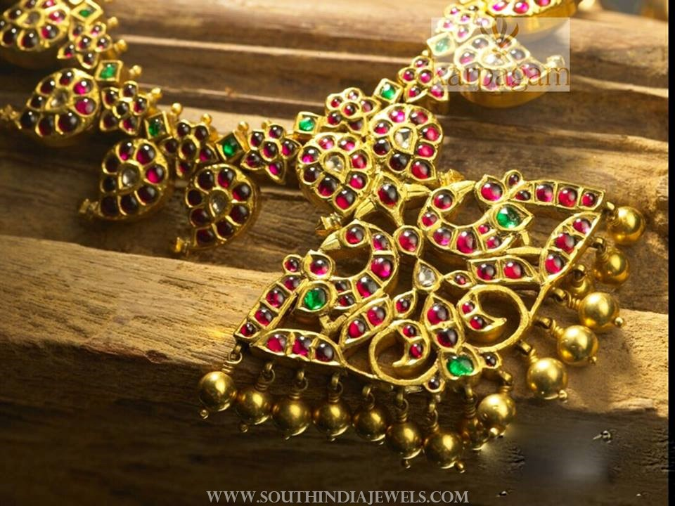 Gold Ruby Mango Necklace From Karpagam Jewellers