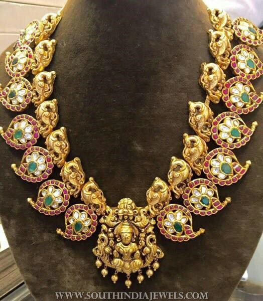 Gold Temple Necklace From Anagha Jewellery