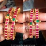 Pure Silver Gold Plated Ruby Bangle