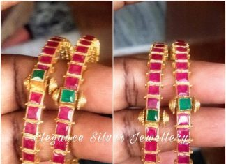 Pure Silver Gold Plated Ruby Bangles