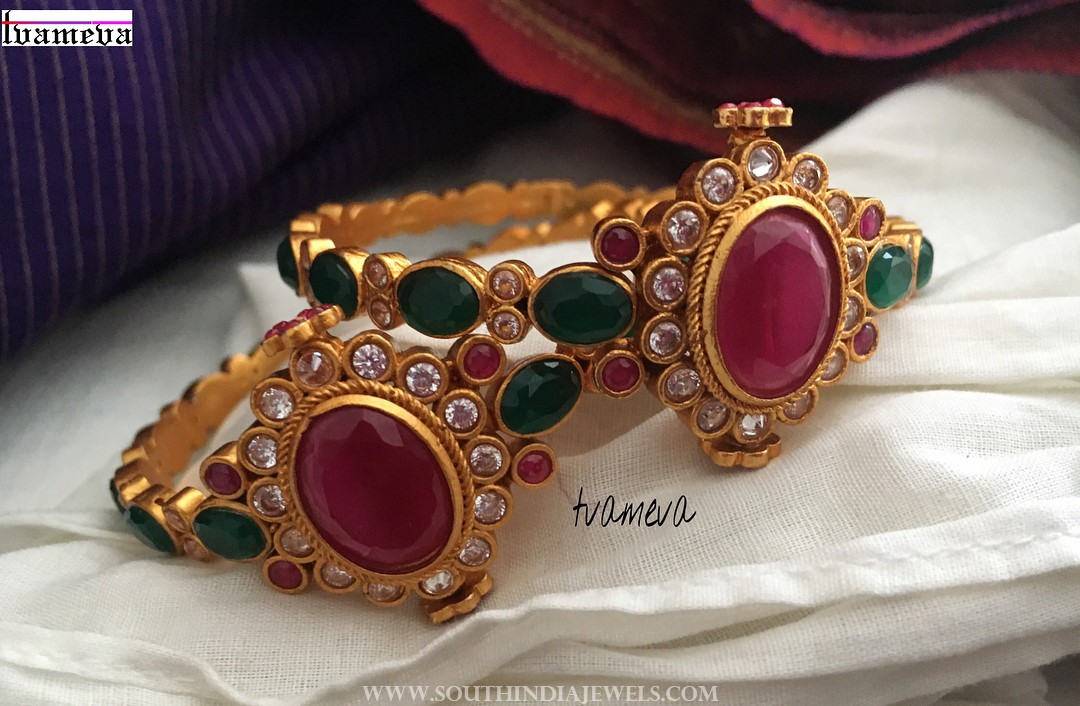 Gold Plated Ruby Emerald Bangles From Tvameva