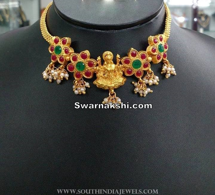 1 Gram Gold Short Lakshmi Choker