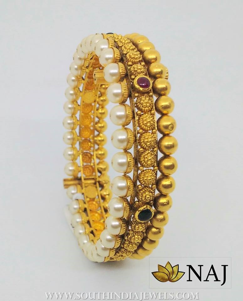 Antique Pearl Kundan Bangle From Naj Jewellery