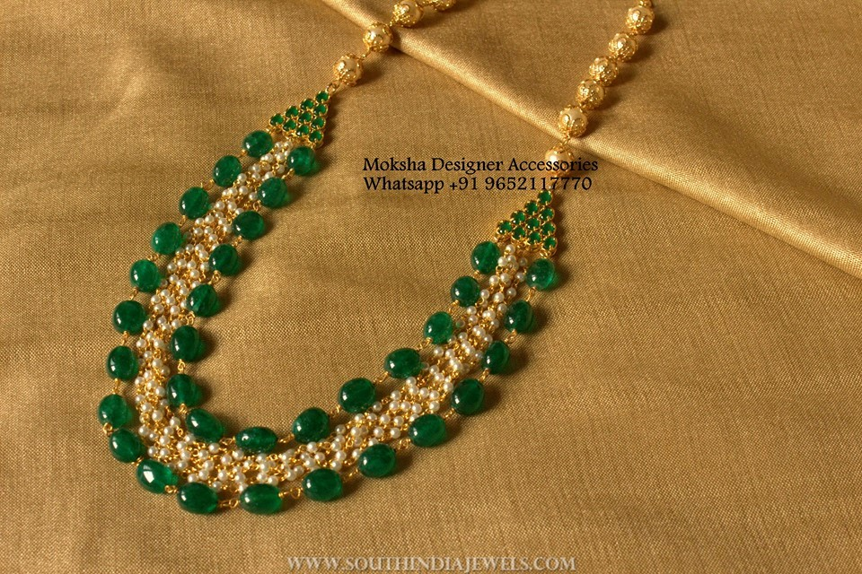 Imitation Emerald Pearl Necklace