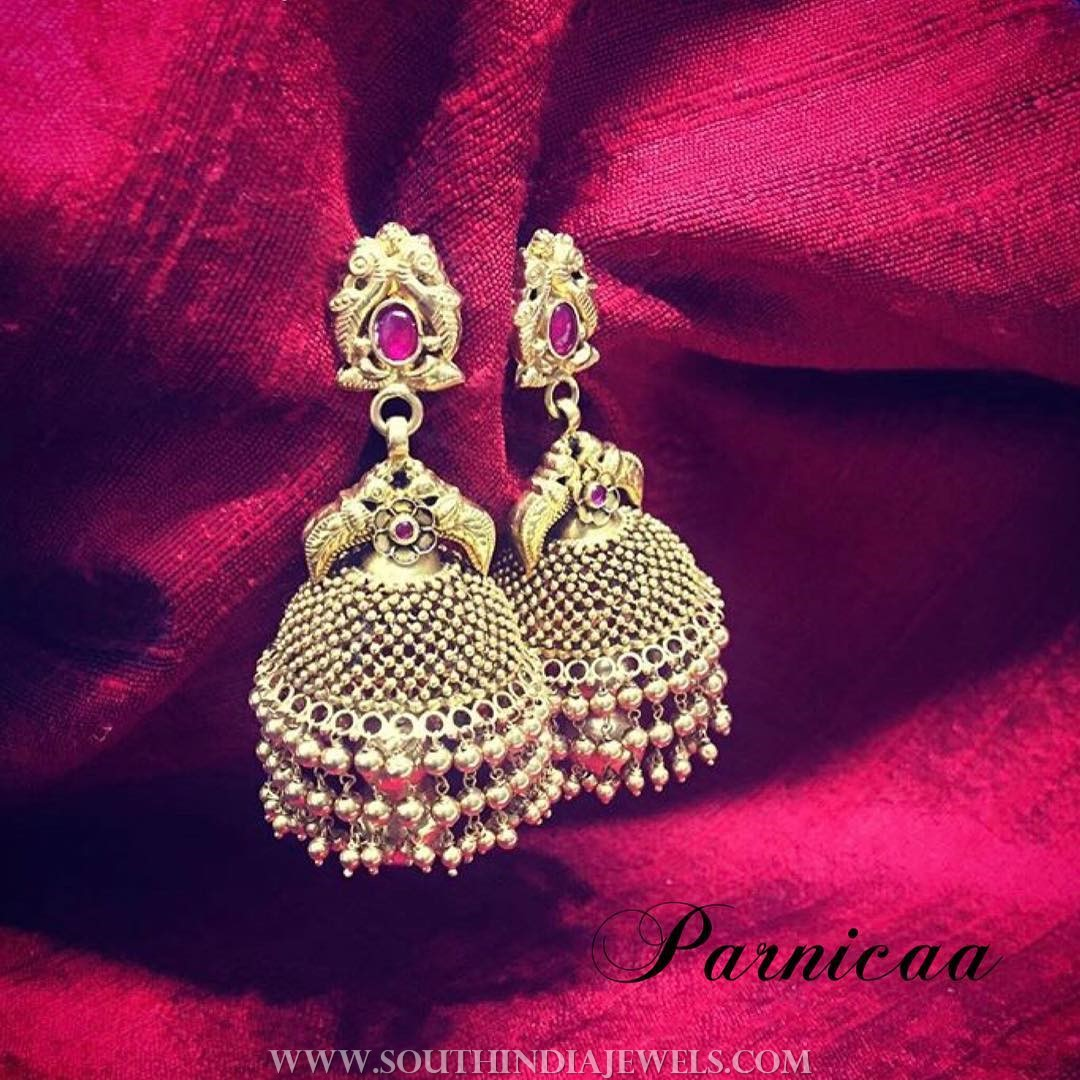 Gold Antique Jhumka From Parnicaa