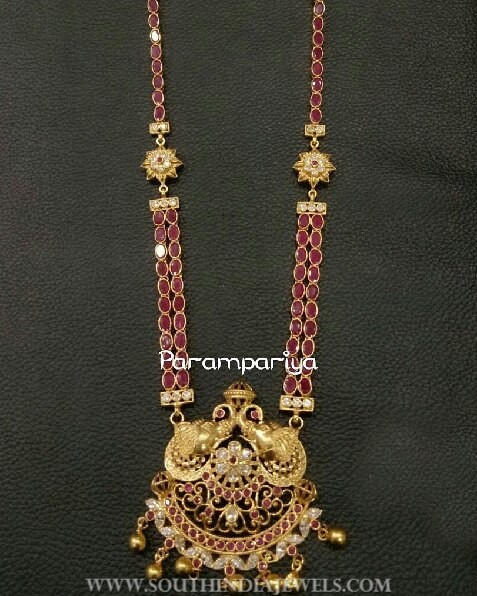 Gold Plated Ruby Haram From Parampariya