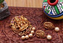 Imitation Lakshmi Pendant & Ear Studs