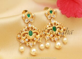 Imitation Earrings With Green Stones