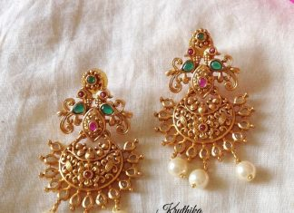 Pretty Gold Plated Earring From Kruthika Jewellery