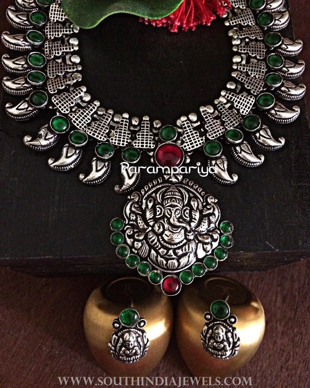 Silver Temple Necklace From Parampariya