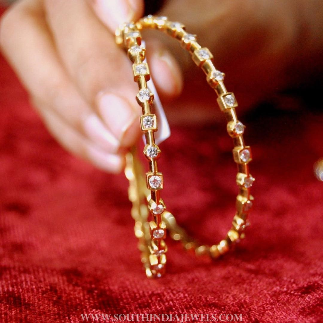 Simple Diamond Bangles From Manjula Jewels ~ South India ...