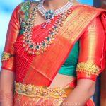 Jewellery Idea For Bright Red Silk Saree