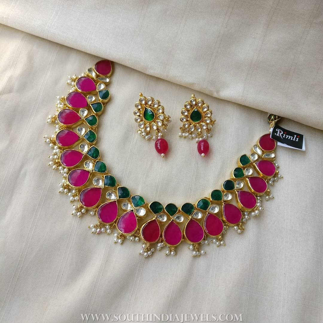 Colorful Kundan Necklace Set