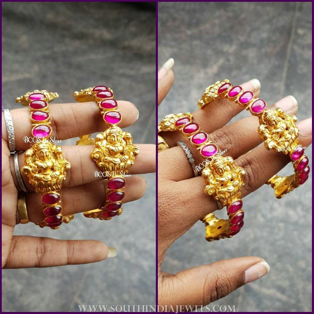 Gold Plated Antique Ruby Bangle From Bcos Its Silver