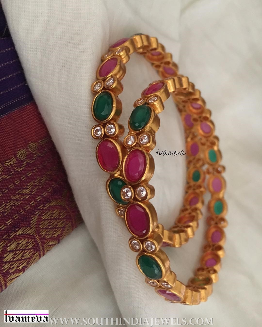 Gold Plated Ruby Emerald Bangle From Tvameva