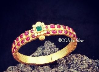 Gold Plated Silver Ruby Bangle