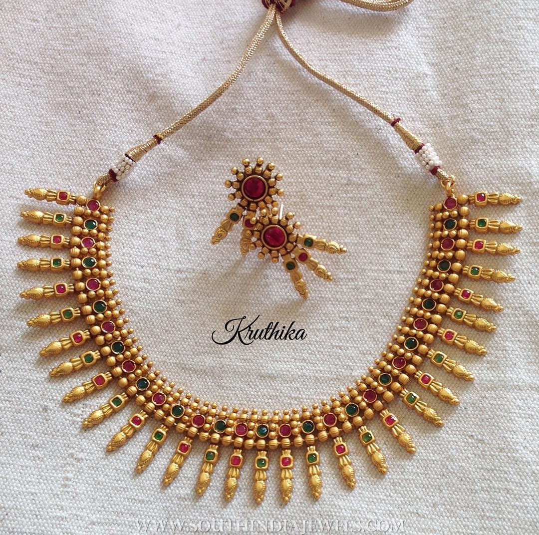 Gold Plated Spike Necklace and Ear Stud
