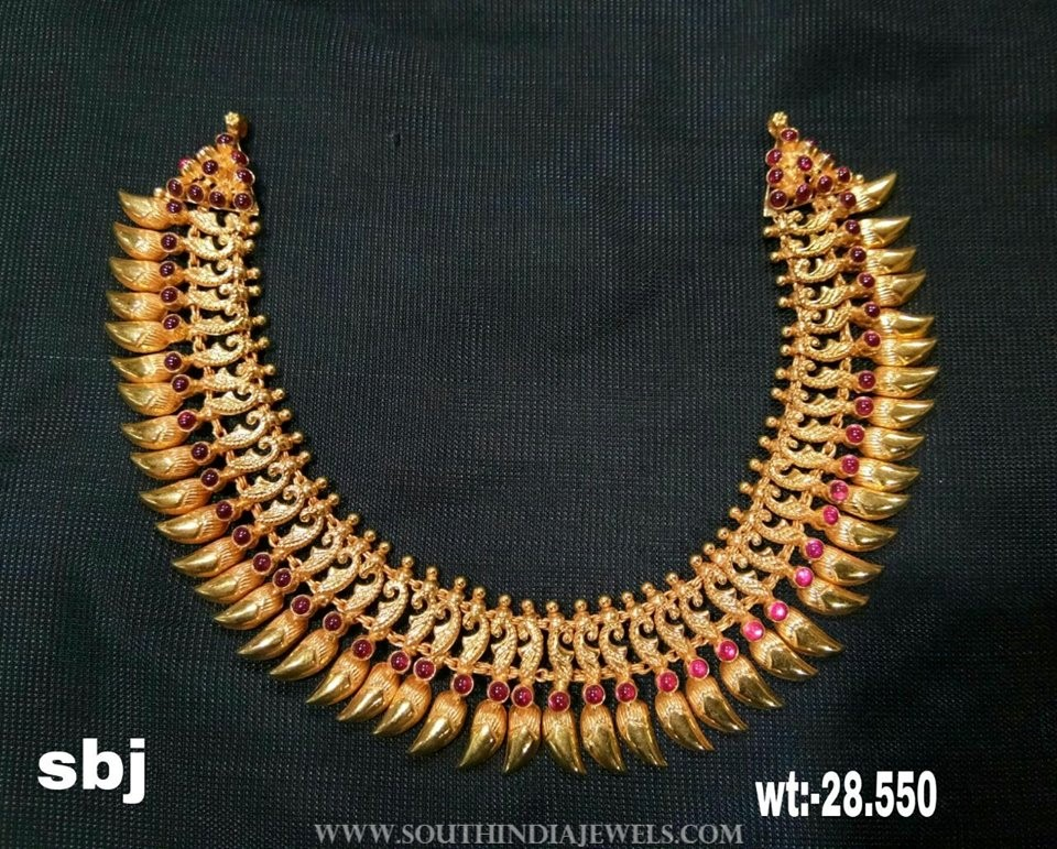Gold Ruby Spike Necklace From SBJ