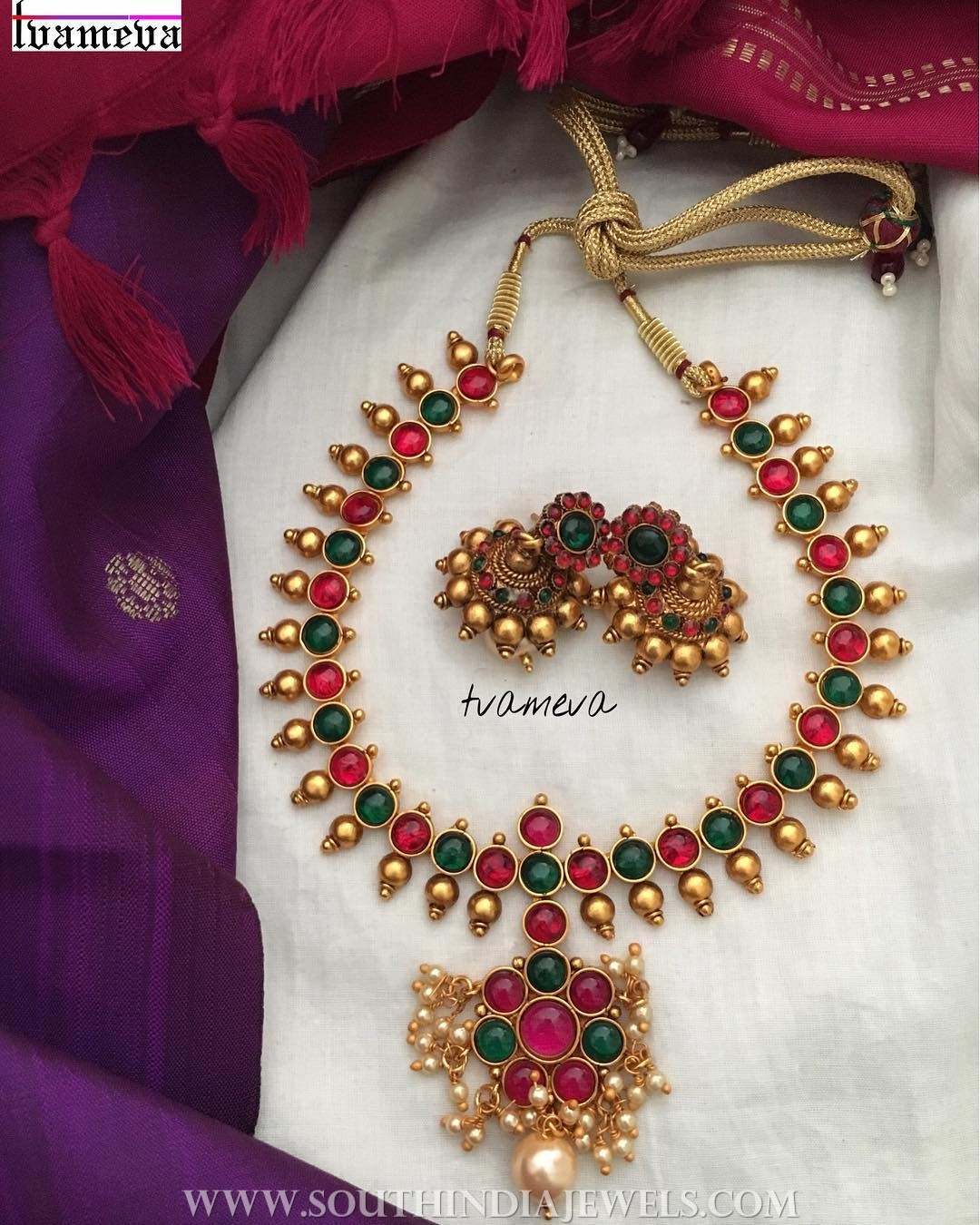 Gold Plated Kemp Attigai and Jhumka From Tvameva