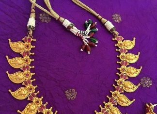 Gold Plated Mango Necklace Set From Tvameva