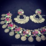 Pure Silver Navarathna Choker Necklace Set