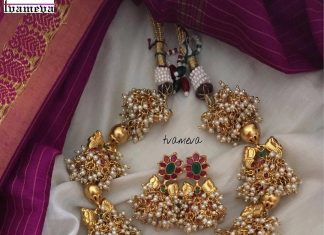Gold Plated Temple Necklace Set From Tvameva