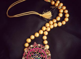 Short Pearl Necklace With Ruby Pendant