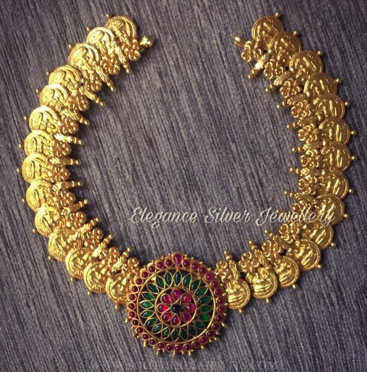 Gold Plated Coin Necklace With Kemp Pendant South India