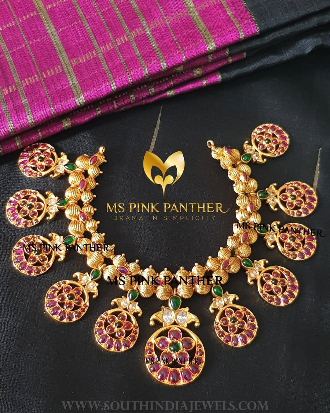 Latest Gold Plated Antique Ruby Necklace
