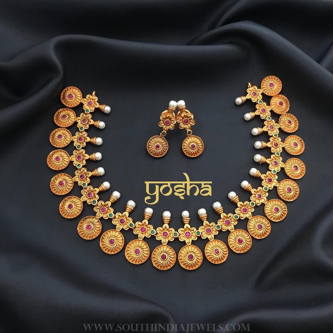 Matt Finish Coin Necklace From Yosha Creationz