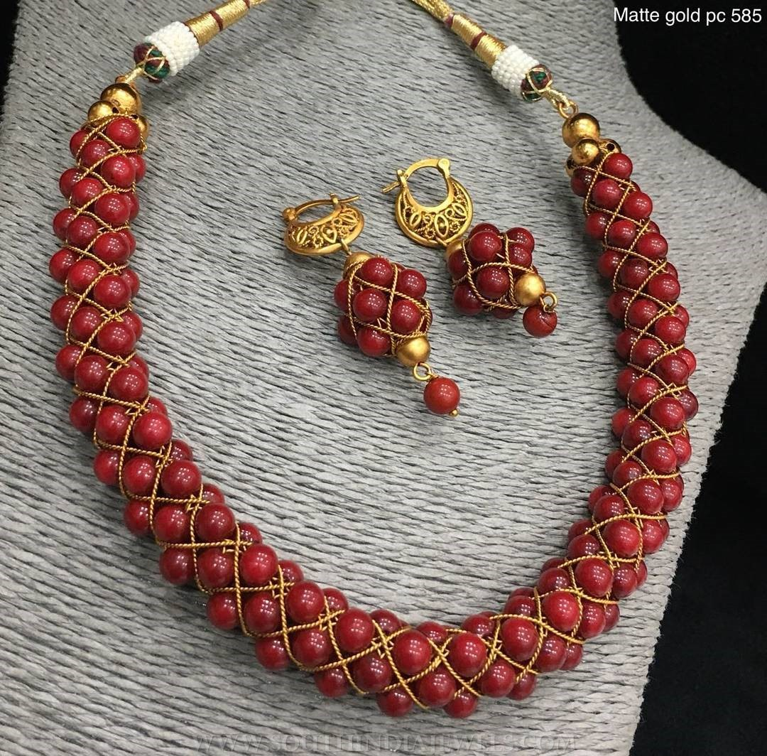 Imitation Coral Necklace Set From Alamkara
