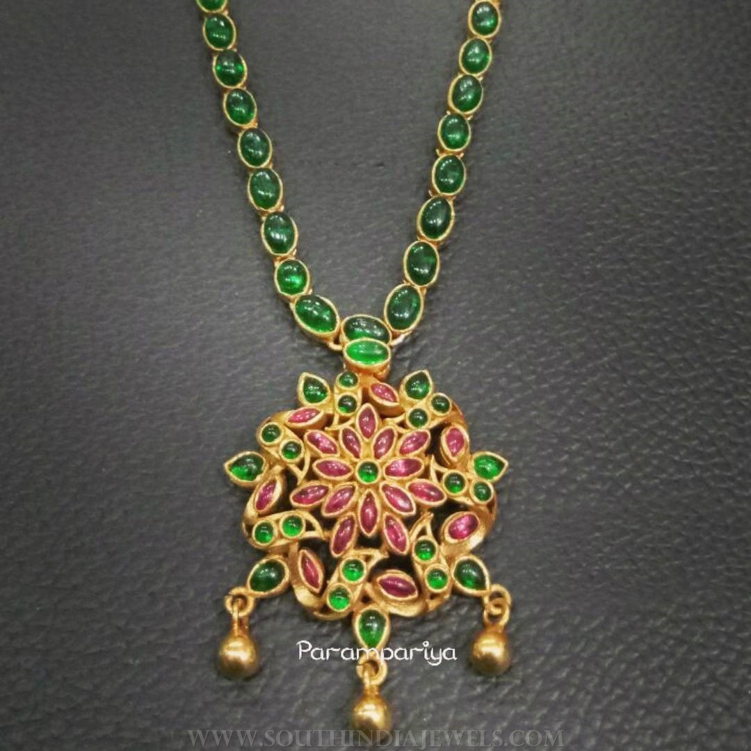 Gold Plated Pure Silver Emerald Attigai