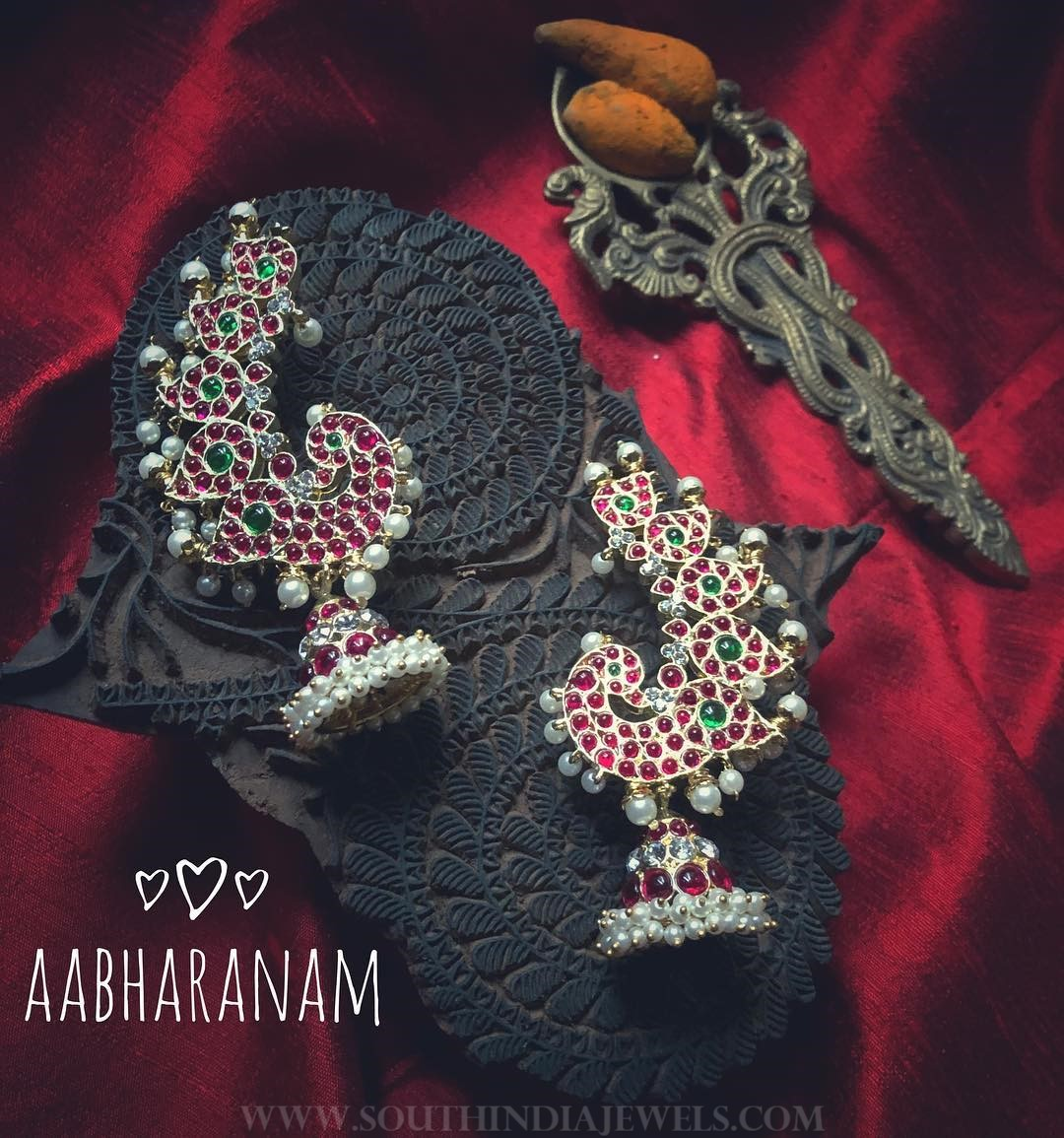 Kemp Peacock Jhumka From Aabharanam