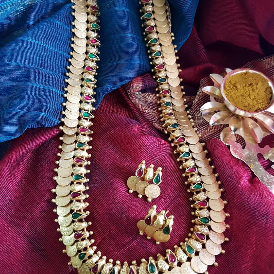 Gold Plated Long Coin Haram Set From Vasah