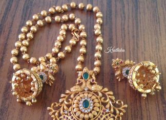 Matt Finish Antique Short Necklace From Kruthika Jewellery