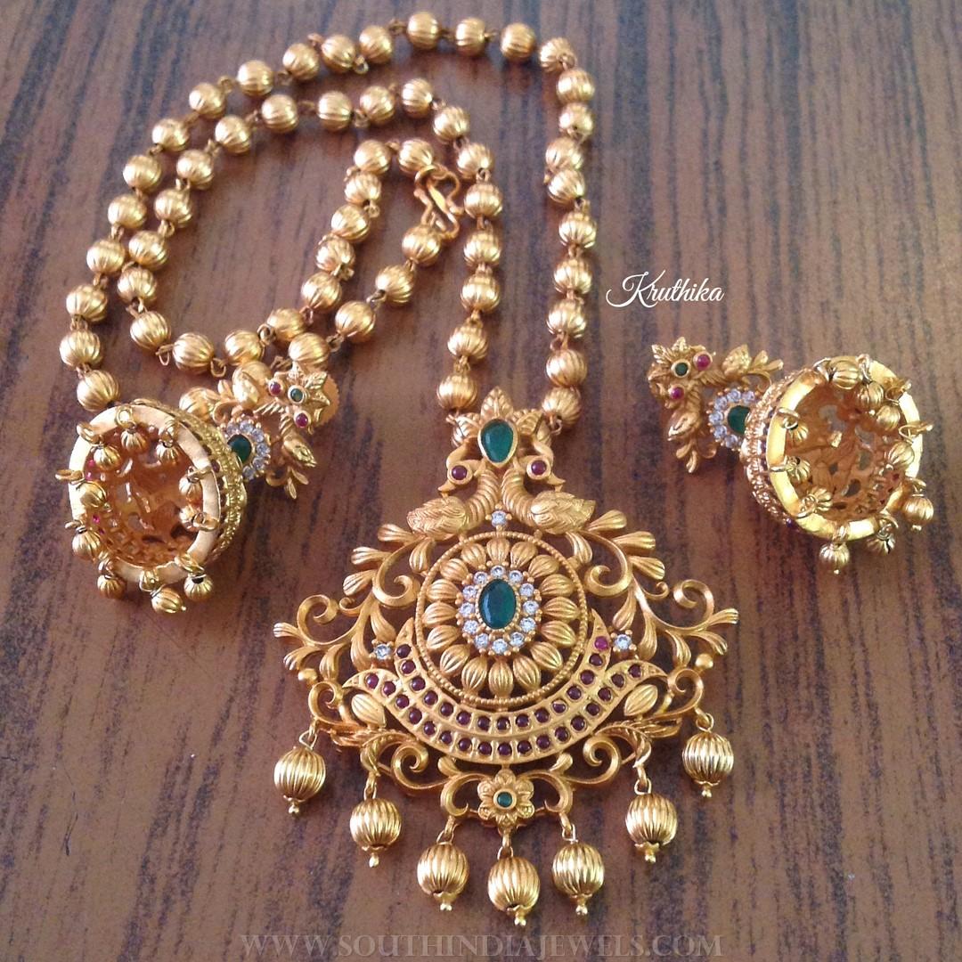Matt Finish Antique Short Necklace From Kruthika Jewellery